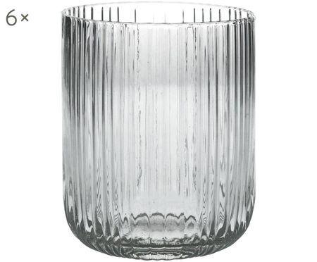 Bicchieri per l'acqua Canise con struttura rigata, 6 pz. nel set
