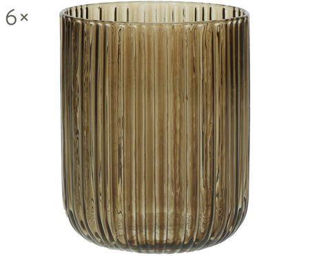 Bicchieri per l'acqua Canise con struttura rigata in marrone, 6 pz. nel set