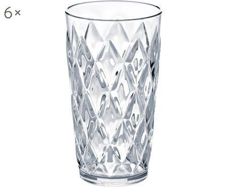 Bicchieri per l'acqua  in materiale sintetico Crystal, 6 pz.