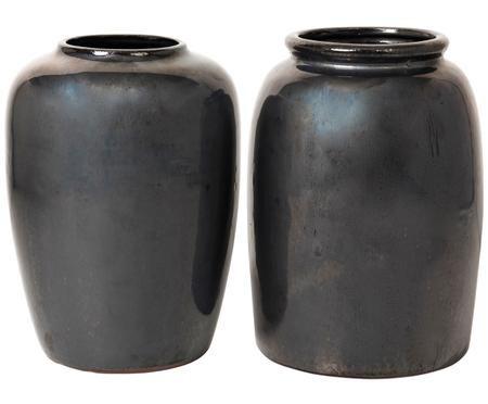 Deko-Vasen-Set Rim & Curve aus Ton, 2-tlg.