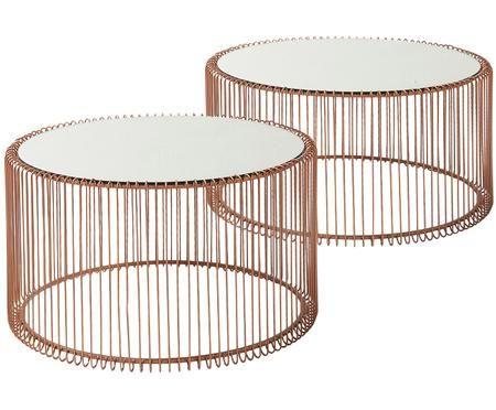 Sada kovových konferenčních stolků se skleněnou deskou Wire, 2 díly