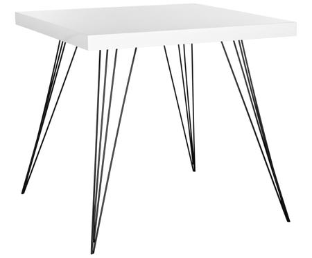 Piccolo tavolo da pranzo quadrato Wolcott con gambe in metallo