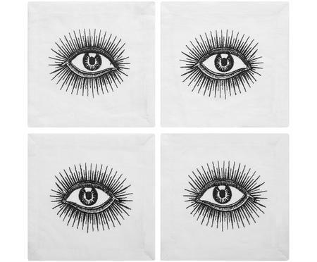 Designový lněný koktejlový ubrousek Eyes, 4 kusy