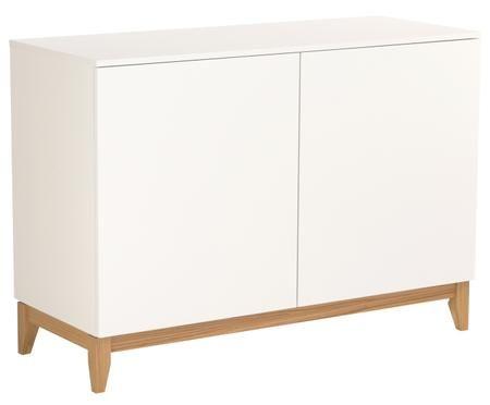 Skříňka v bílé barvě s dřevěnými nohami Blanco