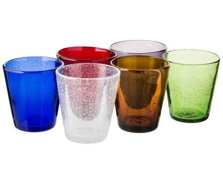 Ensemble de verres à eau soufflés bouche Cancun, 6élém.
