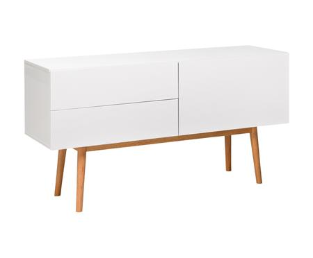 Credenza High on Wood in bianco lucido