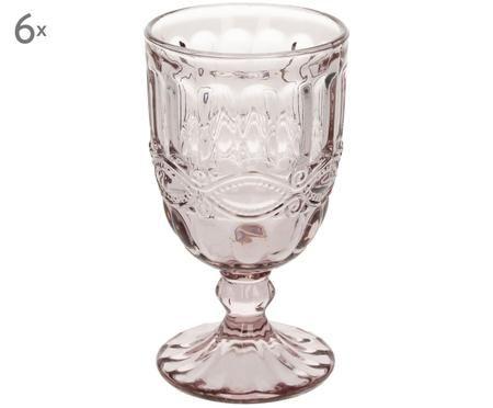 Weingläser Solange mit dekorativem Reliefmuster in Rosa, 6er-Set
