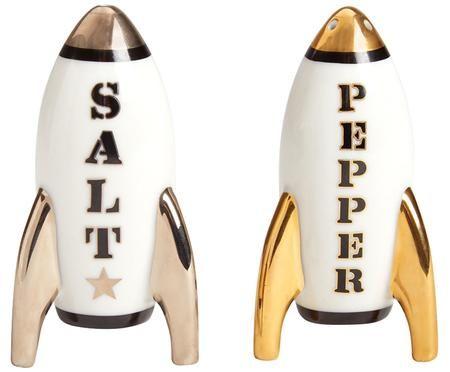Designer zout- en peperstrooier Apollo,vergulden, 2-delig