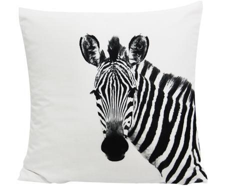Kissenhülle Kelsey mit Zebraprint in Schwarz/Weiß