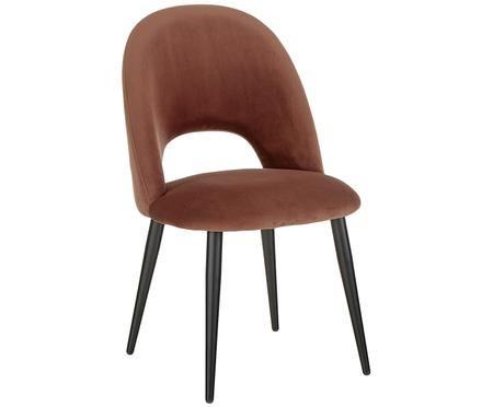 Fluweel gestoffeerde stoel Rachel