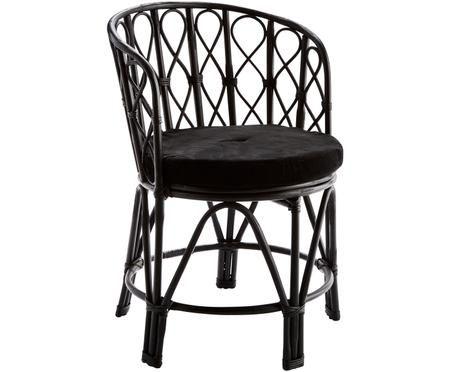 Krzesło z drewna bambusowego Klaudia z poduszką z aksamitu