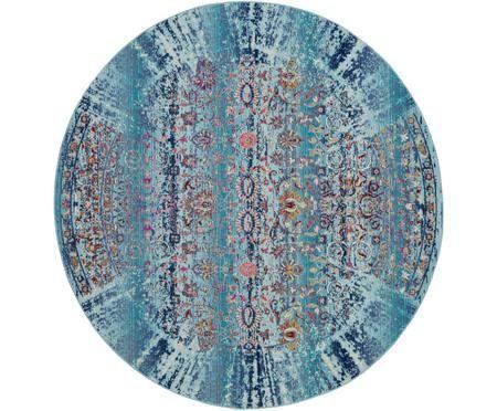 Kulatý koberec snízkým vlasem Kashan