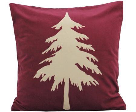 Fluwelen kussenhoes Christmas Tree in donkerrood