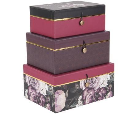 Súprava úložných škatúľ Flowers, 3 diely