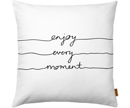 Kissenhülle Enjoy Every Moment mit Schriftzug