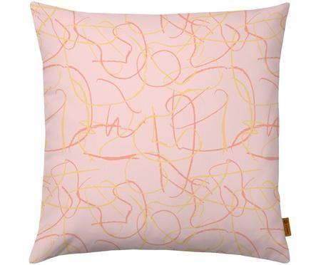 Kussenhoes Doodle met abstract patroon in roze/geel