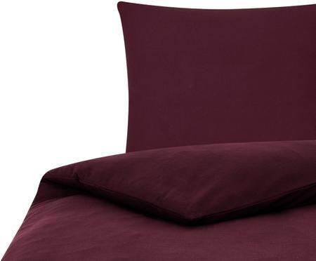 Einfarbige Flanell-Bettwäsche Biba in Dunkelrot