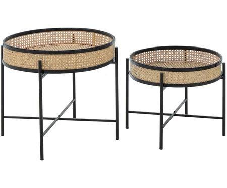 Set di 2 tavolini-vassoi Lambo con intreccio in bambù