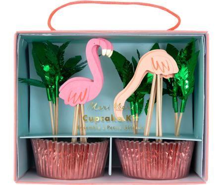 Ensemble d'accessoires cupcakes Flamingo, 24élém.