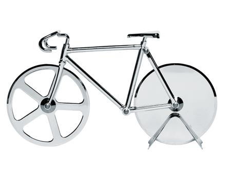 Silberfarbener Pizzaschneider Velo im Fahrraddesign aus Edelstahl