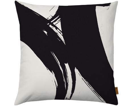 Kissenhülle Dune mit abstraktem Print in Schwarz/Weiß