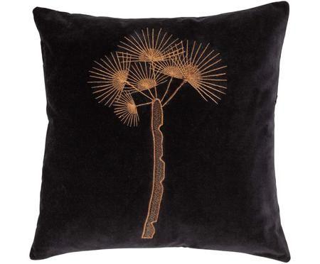 Besticktes Samt-Kissen Tree mit aufgestickter Palme, mit Inlett