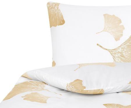 Perkal-Bettwäsche Nala in Weiß und Gold