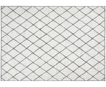 In- en outdooromkeerpaar tapijt Malaga in crème kleur-grijs met ruitjesmotief