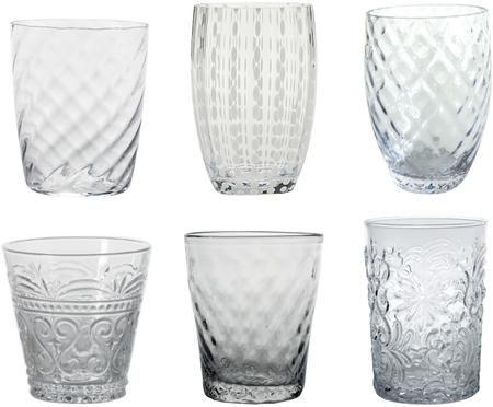Set de vasos de agua soplados Melting Pot Calm, 6pzas.