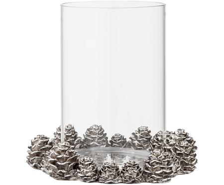 Portacandele natalizio in vetro con pigne Serafina