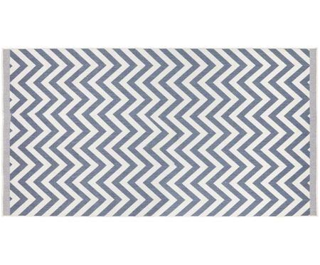 In- und Outdoor-Wendeteppich Palma in Blau-Weiß mit Zickzack-Muster