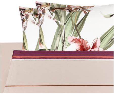 Completo letto in raso di cotone Iris con lenzuolo letto, 4 pz.