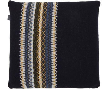 Gebreide kussenhoes Trig van een lichte wollen mix met patroon