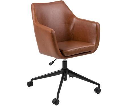 Sedia girevole da ufficio in similpelle Nora, regolabile in altezza