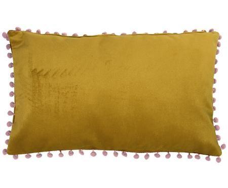 Samt-Kissenhülle Avoriaz in Gelb mit Bommeln