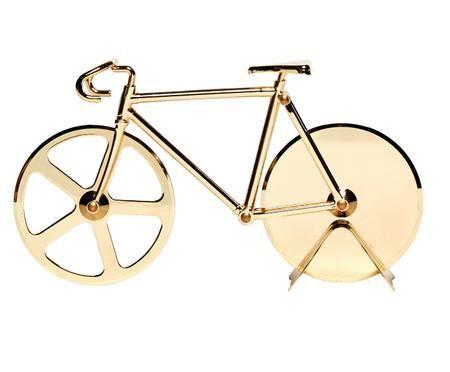 Goldfarbener Pizzaschneider Velo im Fahrraddesign aus Edelstahl