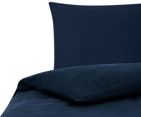 Einfarbige Flanell-Bettwäsche Biba in Navyblau