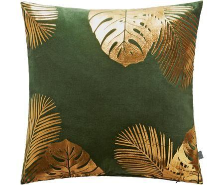 Samt-Kissenhülle Tropicana mit gold glänzendem Blattmuster