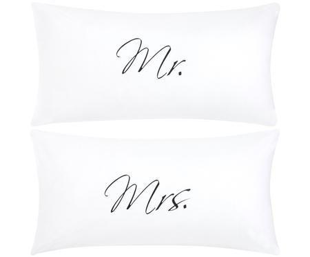 Perkal-Kissenbezüge Mr&Mrs, 2er-Set