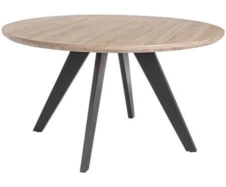 Tavolo da pranzo rotondo Henry con piano d'appoggio in effetto legno di quercia