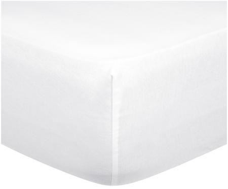 Einfarbige Spannbettlaken Biba in Weiß, Flanell