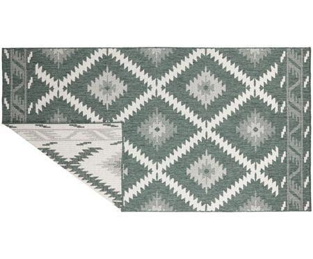 In- und Outdoor-Wendeteppich Malibu im Ethno Style, Grün-Weiß