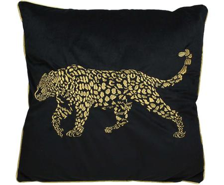 Cojín bordado de terciopelo Majestic Leopard, con relleno