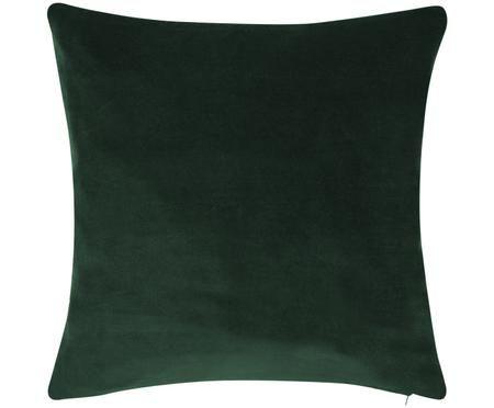 Einfarbige Samt-Kissenhülle Alyson in Smaragdgrün