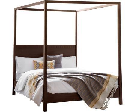 Łóżko z baldachimem Retreat z drewna naturalnego