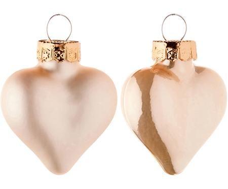 Sada skleněných mini srdcí Alabaster, 12 dílů
