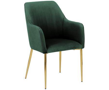 Krzesło z podłokietnikami  z aksamitu Ava