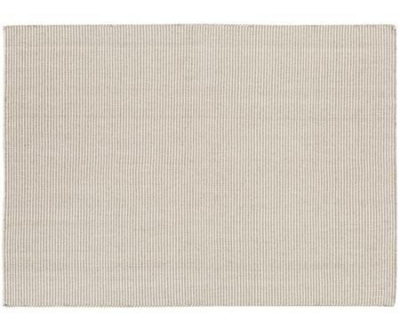Fein gestreifter Wollteppich Ajo in Grau-Creme, handgewebt