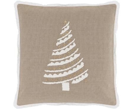 Kissenhülle Tannenbaum mit Motiv und goldenen Perlen