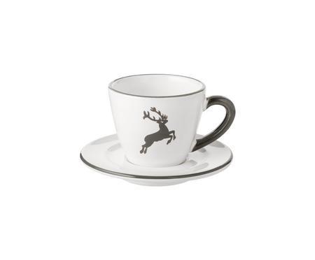 Espressokop en schotel for you Gourmet Grijze Hert, 2-delig